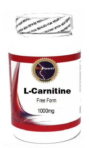 L-Carnitine Free Form 1000mg 200 Capsules # BioPower Nutrition