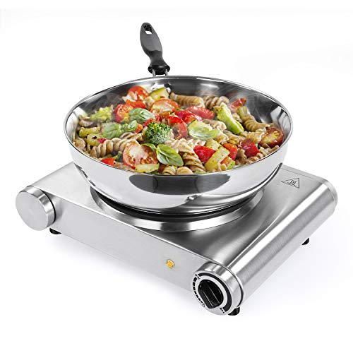 (SUNAVO Hot Plates for Cooking Electric Single Burner, 1500W Portable Burner Electric Stainless Steel)
