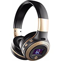Over-ear Headphones, YESSHOW Wireless Bluetooth Earphones with Mic HiFi Stereo Foldable Adjustable Headset Noise Cancelling for Laptops Tablets PCs & Other iPhone Android Smartphones [Black&Golden]