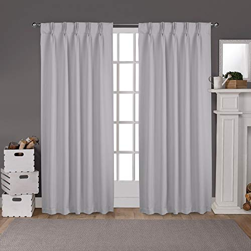 Exclusive Home Curtains Sateen Woven Blackout Window Curtain Panel Pair with Pinch Pleat Top, 84