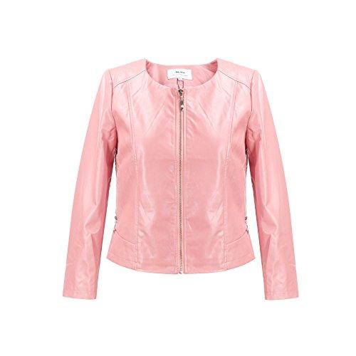 MSSHE Women's Faux PU Leather Jacket Plus Size Round Collar Biker Jacket (Pink Ladies Jacket Plus Size)