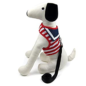 Alfie Pet by Petoga Couture - Dustin Sailor Harness and Leash Set - Color: Red Stripe, Size: Medium