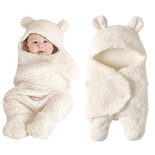 Baby Swaddle Wrap Blankets for Newborns & Infants Cute Cotton Receiving White Sleeping Blanket Boy Girl Wrap Swaddle (0~12Months, White) ()