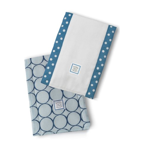 SwaddleDesigns Baby Burpies, Set of 2 Cotton Burp Cloths, True Blue Jewel Tone Mod Circles by SwaddleDesigns