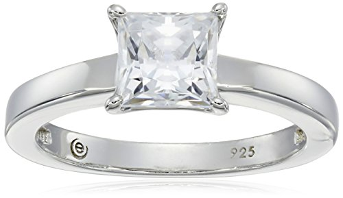 Platinum-plated Sterling Silver Princess-Cut Solitaire Ring made with Swarovski Zirconia (1 cttw), Size 6 (Best Wedding Band For Princess Cut Solitaire)