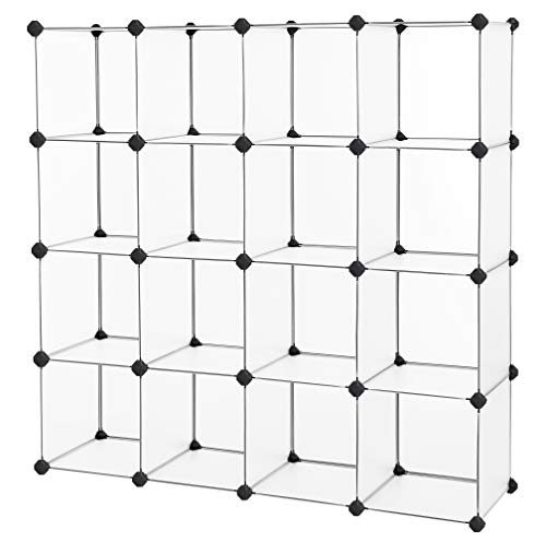 SONGMICS Cube Storage, Plastic Cube Organizer Units, DIY Modular Closet Cabinet, Bookcase Included Anti-Toppling Fittings and Rubber Hammer White Translucent 16-Cube ULPC44L