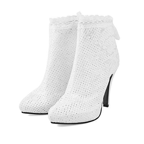 Carolbar Womens Spets Zip Spetsig Tå Hög Klack Kort Klänning Boots Vit