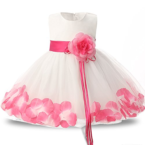 - NNJXD Girl Tutu Flower Petals Bow Bridal Dress for Toddler Girl Size,Rose Red,X-Large/19-24 Months
