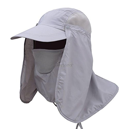 XENO-New Unisex Outdoor Sport Fishing Hiking Hat UV Protection Face Neck Flap Sun Cap(light ()
