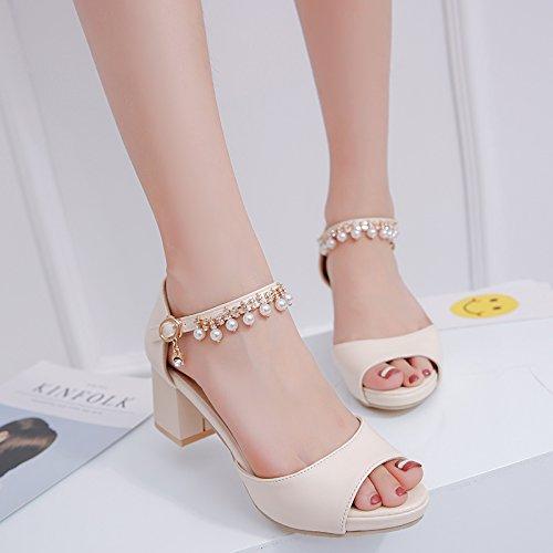 Taiwan Bouche Poisson Heeled High SHOESHAOGE Chaussures EU36 Pendentifs Sandales De Avec Épais Chaussures Perlées Femmes Pour Avec Imperméable qwqI0R