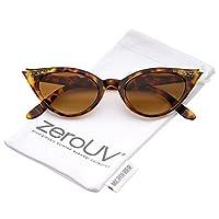 zeroUV - Gafas de sol estilo ojo de gato de los años 50 para mujeres con diamantes de imitación Pinup Girl Ropa Accesorios Rockabilly (Tortois)