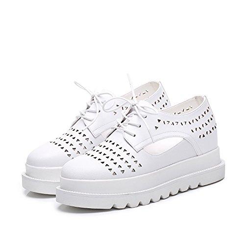 y oficina aire flatform de patente ocasional LvYuan talón de White Zapatos mujeres cuero de zapatillas la de zapatos de hueca la blancos manera comodidad carrera al respiración las plano libre 6xanzqSw8a