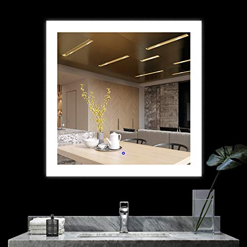 BATH KNOT Square Wall Mounted Backlit LED Mirror, Bathroom Make Up Square Mirror with Anti-Fog and Touch Button, 36 x 36 Inch