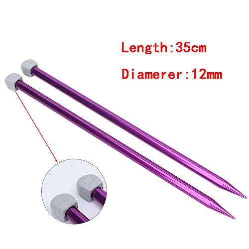 2Pcs 35cm Aluminum Single Pointed Knitting Needles Sizes 2mm to12mm (Color - 12.0) ()