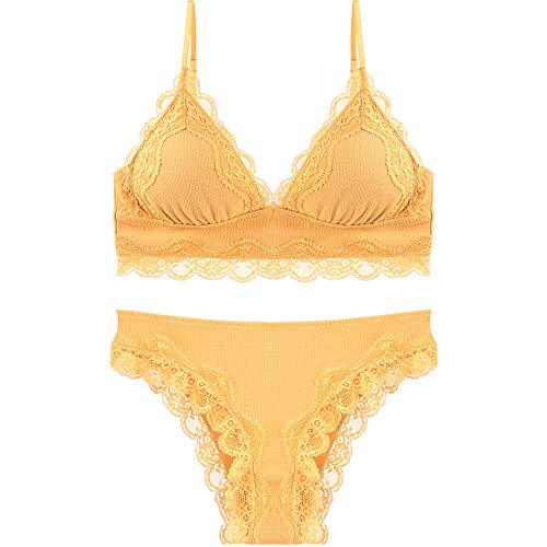 Avec Set De vêtements Zhaozhaomumu Culotte Coupe Triangle Mince Sans Petit Sexy Sous gorge Fille Poitrine Yellow Jantes Soutien Ovqf7vn