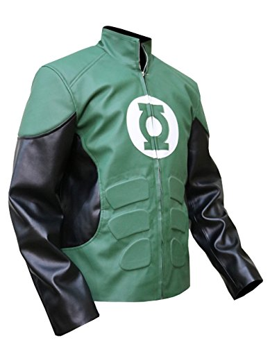 Gardner's Green Lantern Leather Jacket,DC Comics Cosplay Faux Leather,XXS-3XL,2XL (Lantern Green Jacket)