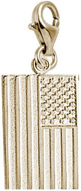 Rembrandt Charms USA Flag Charm with Lobster Clasp, 14k Yellow Gold 14k Yellow Gold American Flag
