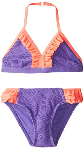 (Jantzen Little Girls'  Crochet Ruffle Bikini, Purple, 6X)
