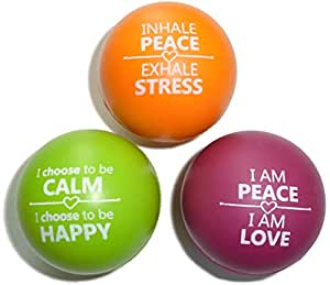 Motivational Stress Balls Kids Adults Squeeze Toy Positive Affirmations Relaxing, Focus Anxiety Relief | Made from Non Toxic Foam | 3 Pack to Use at Work, Office, Home School