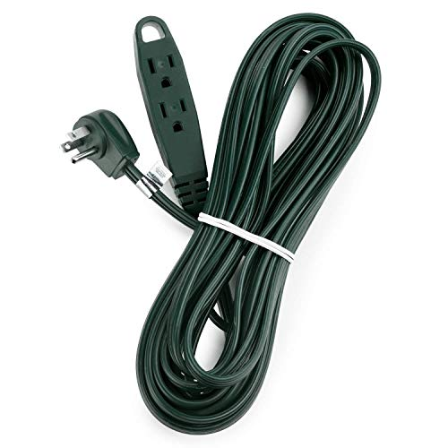 Aurum Cables 40 Feet 3 Outlet Extension Cord 16AWG Indoor/Outdoor Use - Green - UL Listed