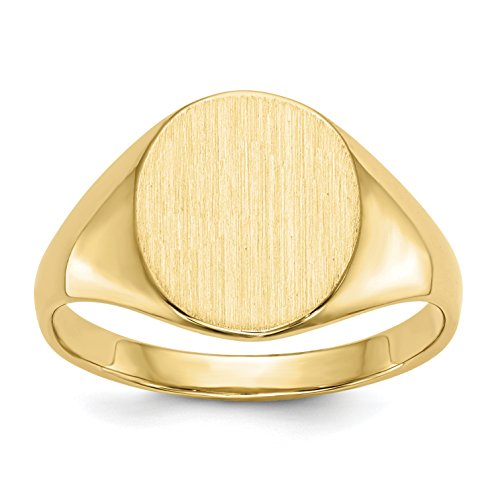 Brilliant Bijou Unisex Solid 14k Yellow Gold Engravable Signet Ring Open Back - Brushed and Polished Finish - Size 5 (Size 4.00) 14k Signet Mens Ring