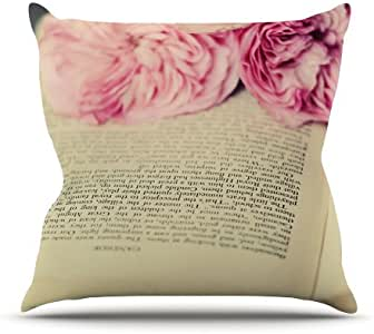 Kess InHouse Cristina Mitchell A Good Read Pink Tan Outdoor Throw Pillow, 20 by 20-Inch
