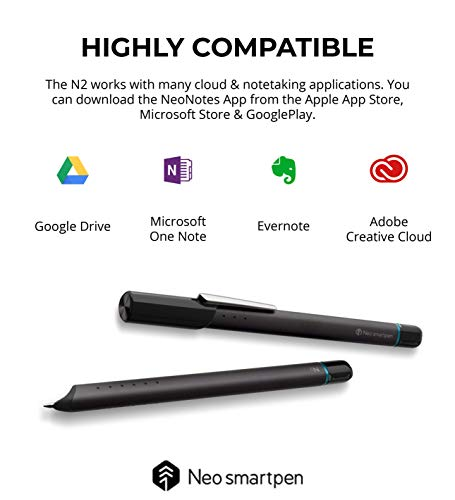 Neo Smartpen N2 Bluetooth Digital Pen Compatible with iOS and Android Devices, Windows PC (Titan Black)