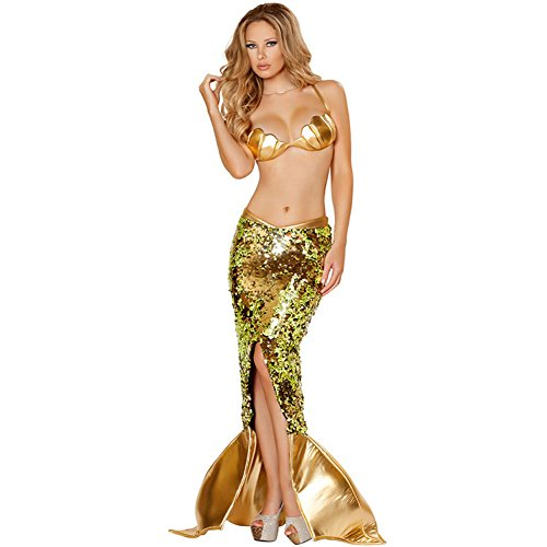 Mermaid Halloween Costume Skirt (Women Sexy Mermaid Cosplay Costume Halloween Party Cosplay Mermaid Dress,Style D,Medium)