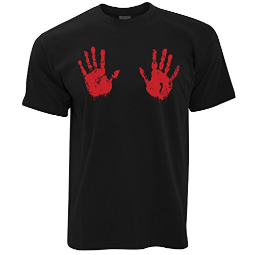Tim And Ted Halloween T Shirt Scary Bloodied Hand Prints Black XXXXXL