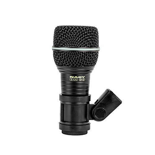 Nady DM-80 Drum Microphone - Enhanced low frequency response for kick drums, Neodymium element, all-metal construction and rubber mount to minimize vibration