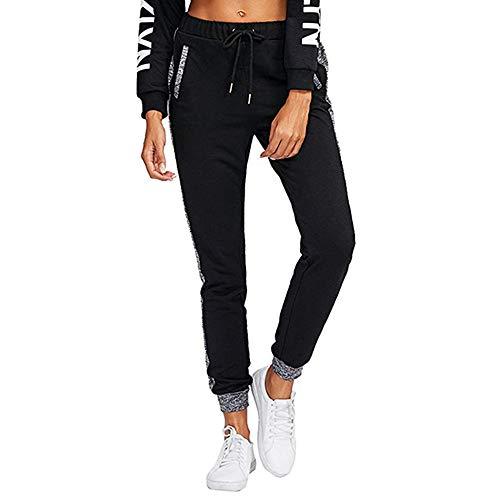 Pocket Slim Sweatpants Women's Casual Elasticated Elastic Waist Loose Fitness Pants MEEYA Black -