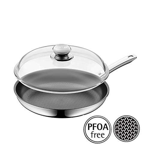 WMF Profi Resist Frying Pan with Glass Lid Diameter 28 cm Multi-Layer Material Coated Honeycomb Structure Plastic Handle Suitable for Induction Cookers Black (Wmf Honey)