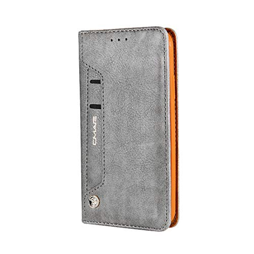 6.5 inch Case for iPhone Xs Max, TechCode Premium PU Leather Kickstand Slim Flip Folio Protective Wallet Phone Case Book Cover with Card Slots Magnetic Closure for 6.5 inch iPhone XS Max -Grey