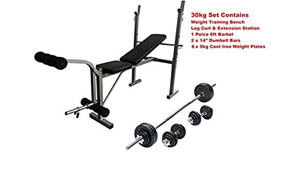 Banco de entrenamiento con pesas Curl Barl + + mancuernas 30 kg ...