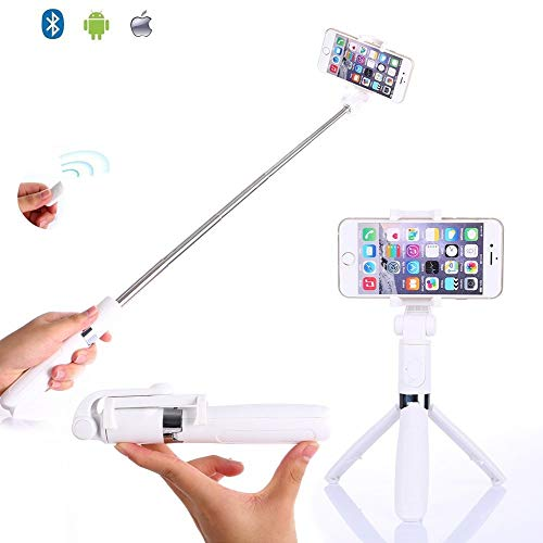 Selfie Stick Tripod by SABER, 3-in-1 Extendable Selfie Stick with Tripod Stand, Removable Bluetooth Wireless Remote Shutter, Compatible for All iPhone, Samsung, Google, Huawei & More (White)