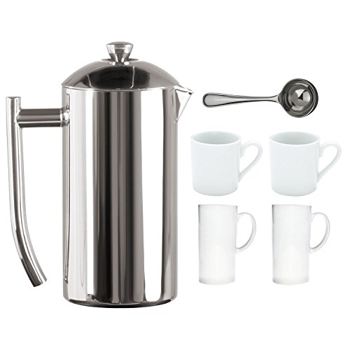 Frieling Double Wall Stainless Steel 36-Ounce French Press Polished Coffee Maker Set
