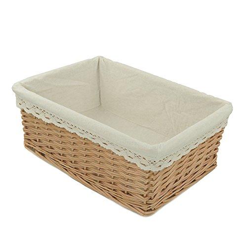 Willow Wicker Storage Basket With Liner For Home: RURALITY Rectangular Willow Wicker Storage Shelf Basket