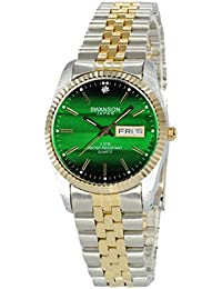 Mens Gold-Plated and Stainless Steel Two-Tone Day-Date Watch Green Dial