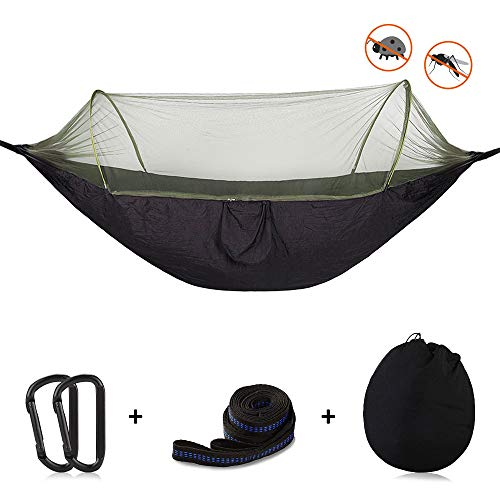 OTraki Camp Hammock with Pop Up Mosquito Net 3.9 x 8ft Free Straps and Carabiners Support 440lbs Portable Single Person Parachute Hammock Anti-Mosquito Tent for Outdoor Travel Hiking Backpacking (Best Pop Up Mosquito Net)
