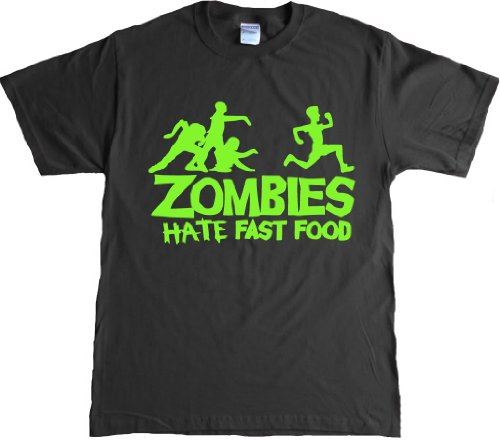 Zombies Hate Fast Food Funny Adult T-shirt - 2X-Large - Black/neongreen
