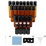 24 Pack 3 Size Amber Glass Essential Oil Roller Bottles with Stainless Steel Balls to Roll on for Perfume Skin Emulsion Droppers Funnels Labels and Opener as Gifts