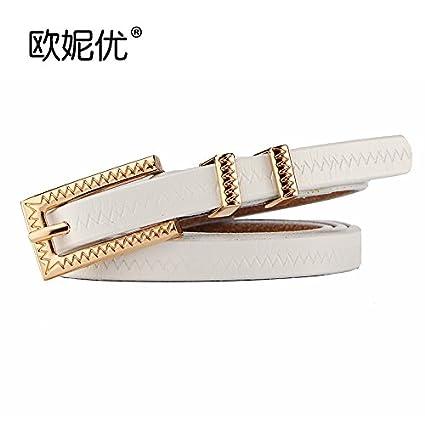 Cinturón de Piel con Hebilla de cinturón de Cuero Fino Pantalón