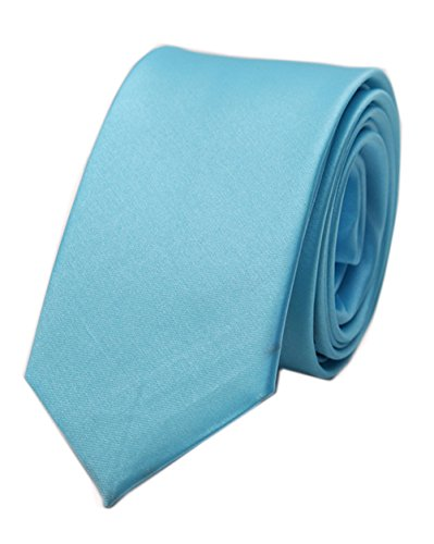 Men's Sky Blue Extra Long Woven Silk satin Work Dress Tie Fashion Fun Neckties (Silk Satin Tie Dress)