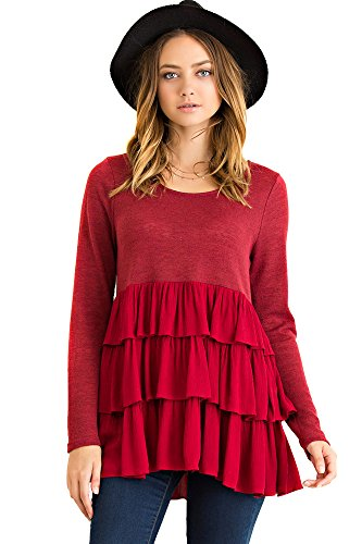 Long Sleeve Baby Doll Top (Long Sleeves Round Neckline Solid tiered Baby Doll Crinkle Tunic Top (SMALL,)