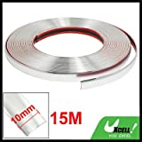 uxcell Silver Tone Chrome Moulding Trim Strip 15M x 10mm