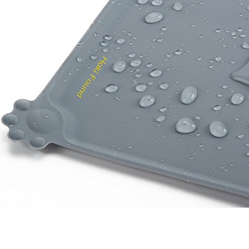 "Hoki Found Silicone Pet Food Mat Tray- Pet Bowl Mat - FDA Grade Dog Feeding Mat - Dog Cat Food Mat - Pet Feeding Mat - Waterproof Pet Mats - Non slip Dog Bowl Water Mat Placemat, 18.6"" x 11.8"", Gray"