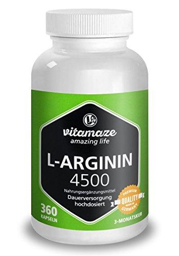 L-ARGININ HOCHDOSIERT, 360 Kapseln für 3 Monate, AKTIONSPREIS, deutsches Qualitätsprodukt ohne unnötige Zusatzstoffe, allergikergeeignet, 30 Tage kostenlose Rücknahme!