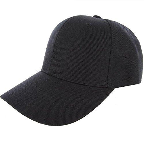 Black-100% Acrylic Plain Baseball Cap Baseball Golf Fishing Cap Hat Men Women Adjustable Velcro (US - Male Kuwait Models