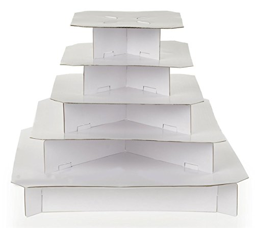 5-Tier Cardboard Cupcake Stands for 100 Cupcakes, Square (White) - Set of -