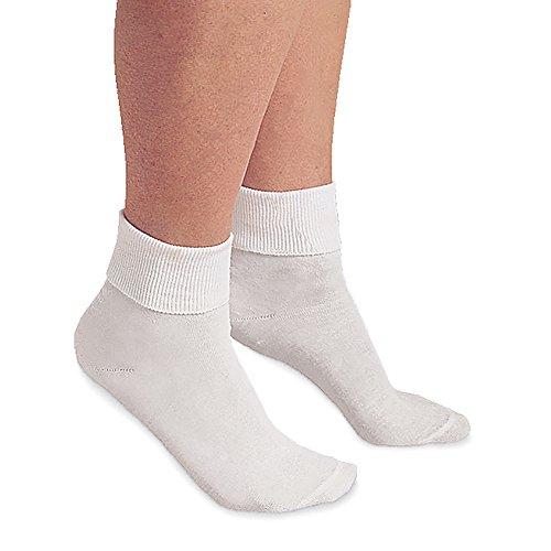 Buster Brown Women's 100% Cotton Socks - 3 Pair Package Fold Over Bobby Socks - White - XL